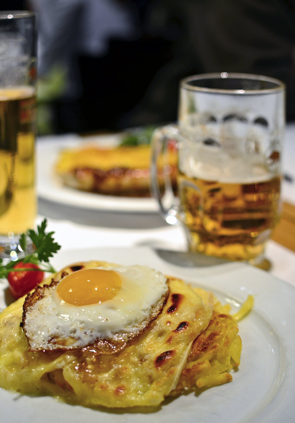 Beer, Raclette cheese and Rösti