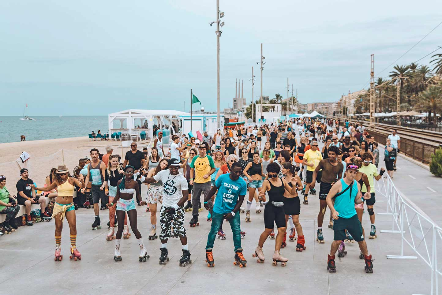 roller skate party beach
